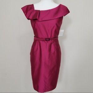 Belted Taffeta Sheath Evening Gown